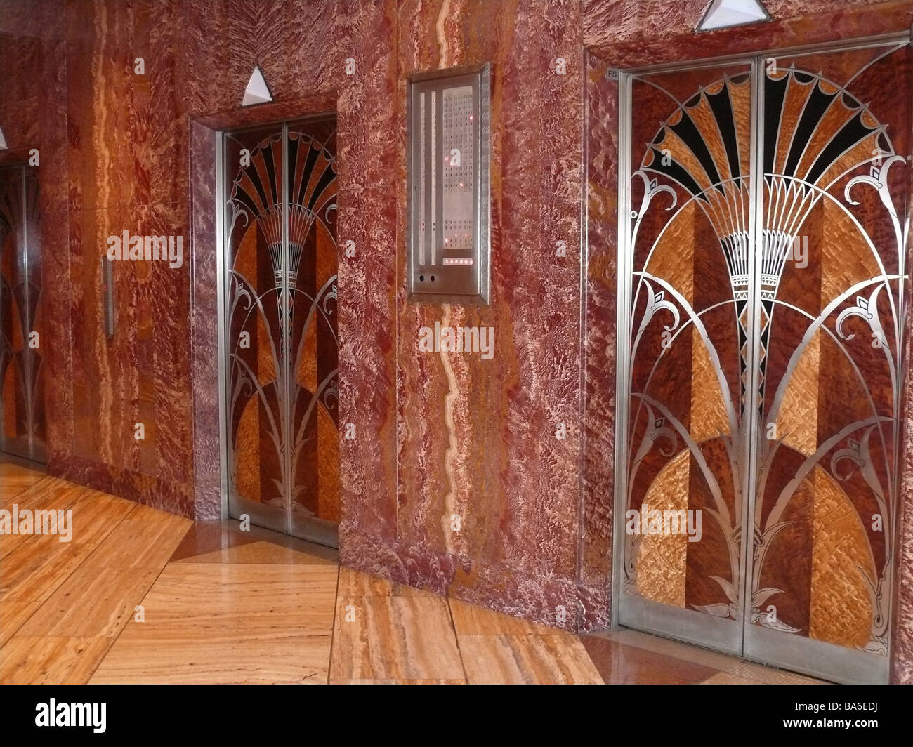 USA New York city Chrysler Building indoors elevators doors skillfully Art Däco America city Manhattan buildings - Stock Image
