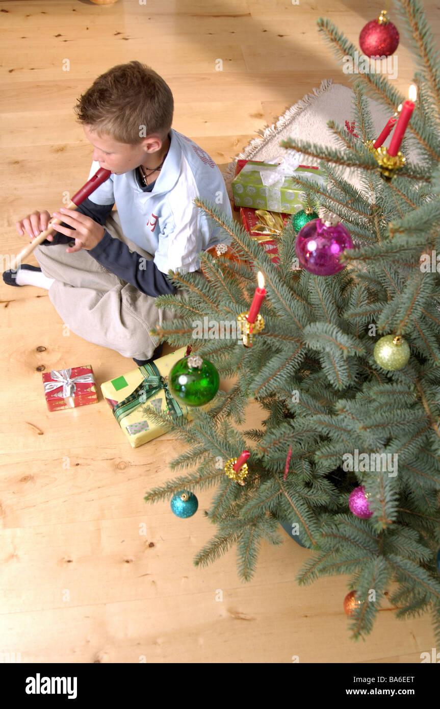 Christmas sacred evening Christian-tree gifts child boy recorder ...