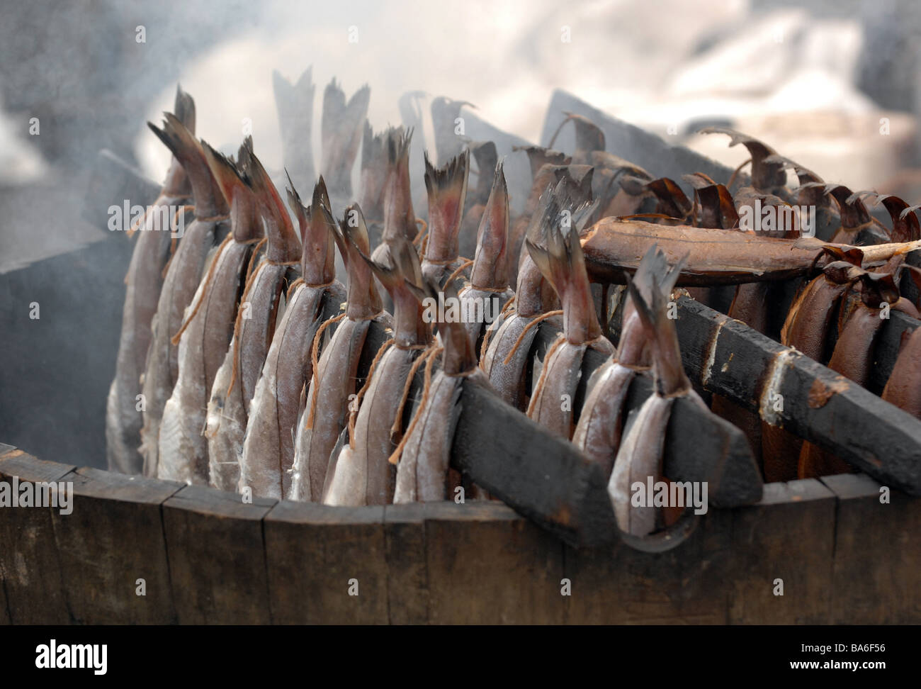 Arbroath smokies on sale at a farmers market in Scotland - Stock Image