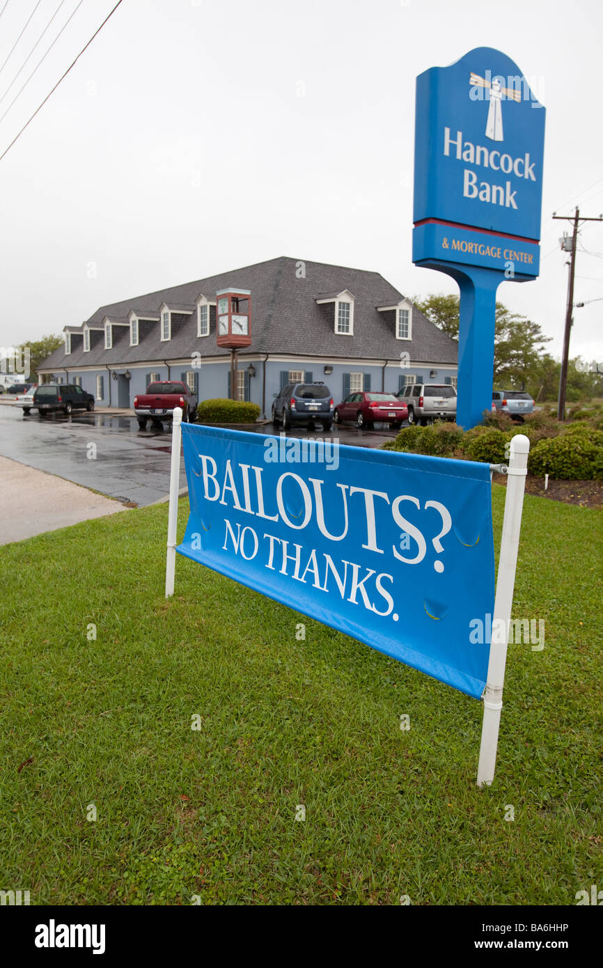 Bank Advertises Its Refusal to Take Federal Bailout Money - Stock Image