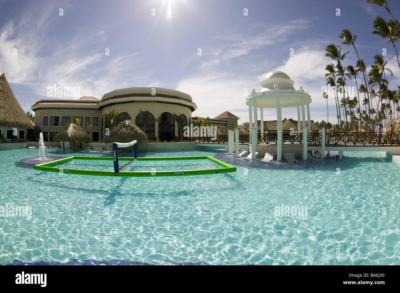 Dominican republic hotel-installation pool pavilion summers Caribbean big Antilles island hotel hotel-pool pool - Stock Image