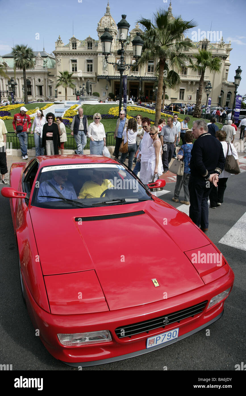 Monaco Monte Carlo Spielcasino Ferrari passers-by - Stock Image