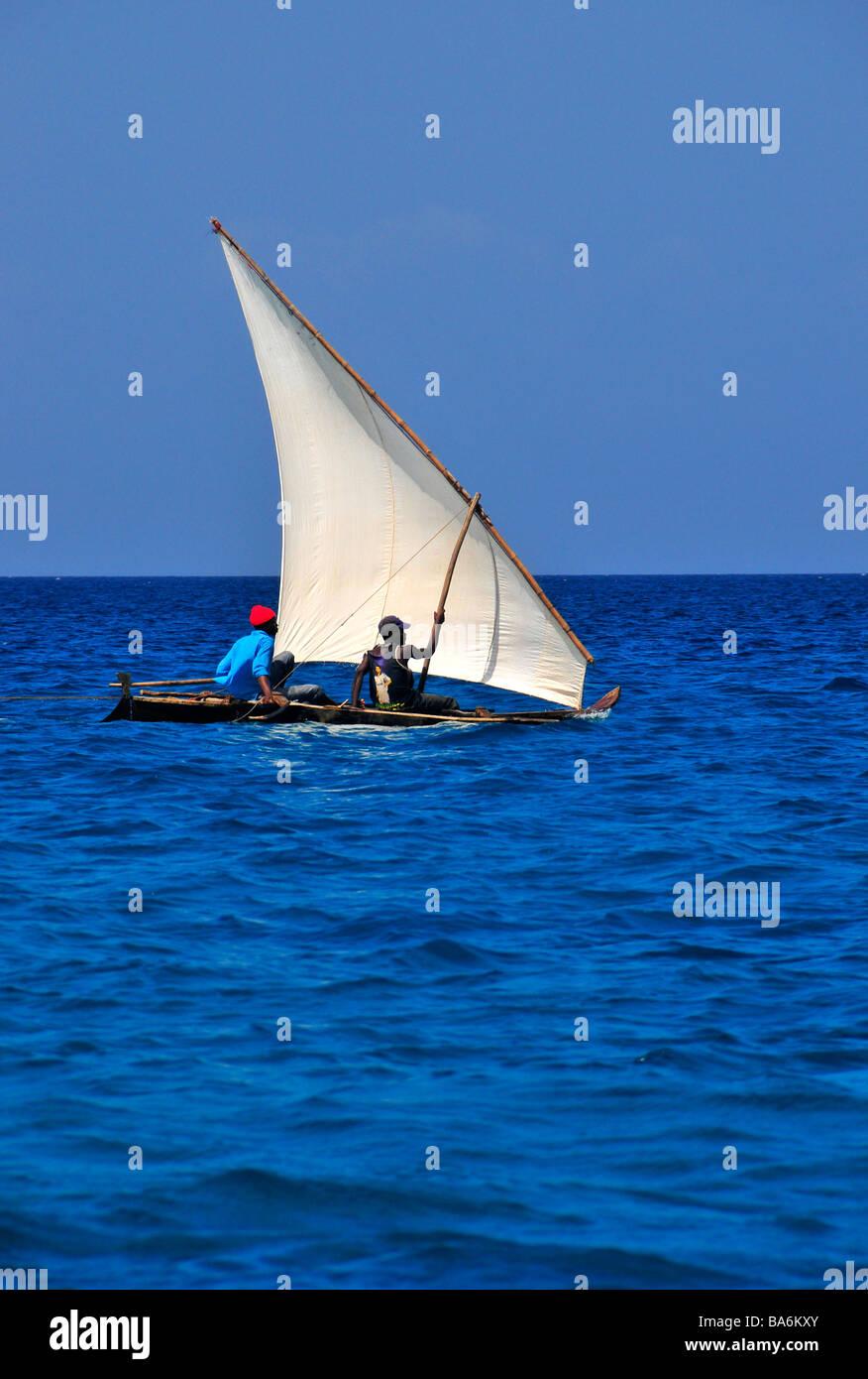 Traditional Fishermen in Dhow fishing boat,Indian ocean,Zanzibar,Tanzania, - Stock Image