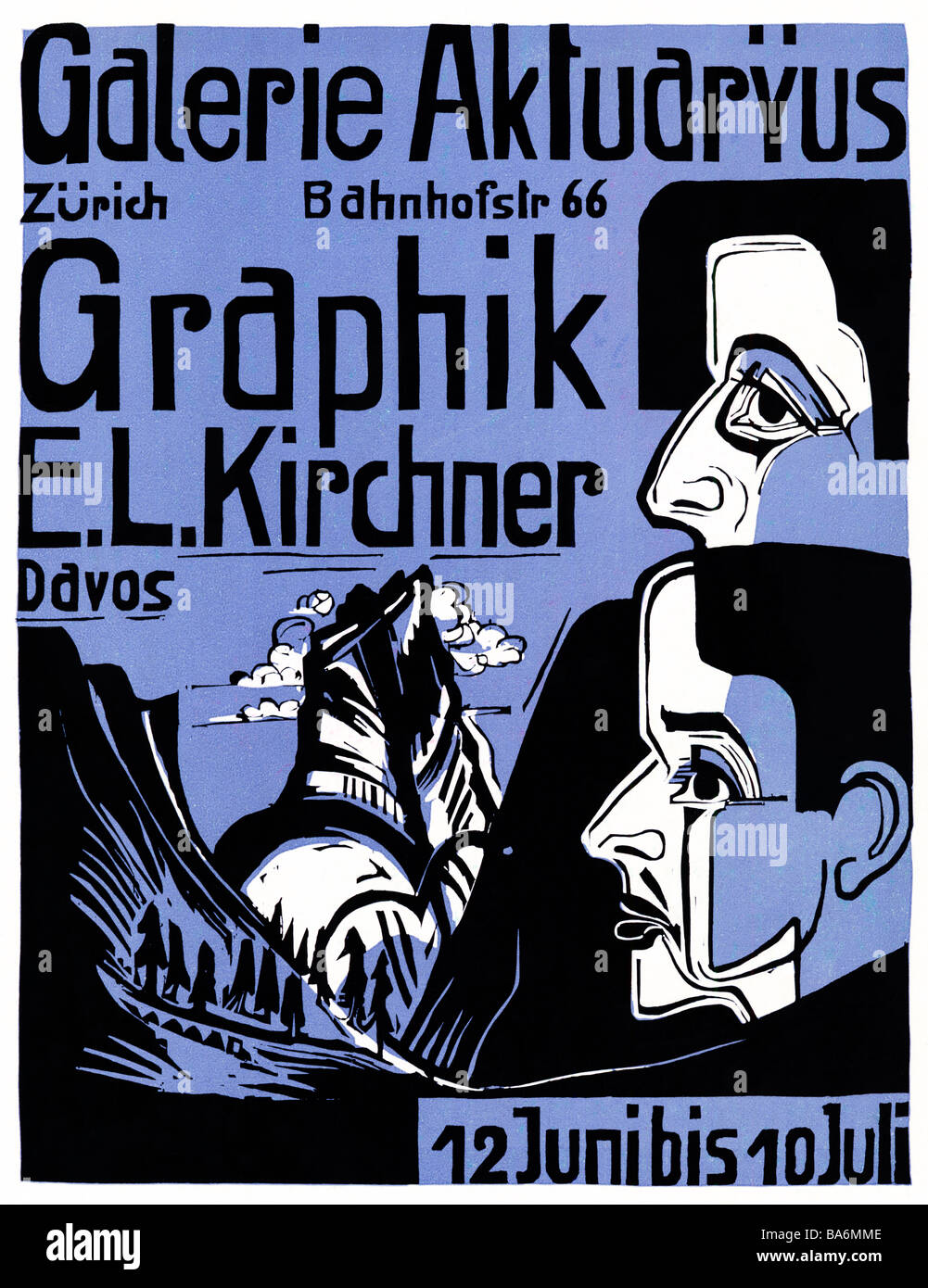 Ernst Ludwig Kirchner Zurich 1933 poster for an exhibition of the the German artist in his adopted country Switzerland - Stock Image