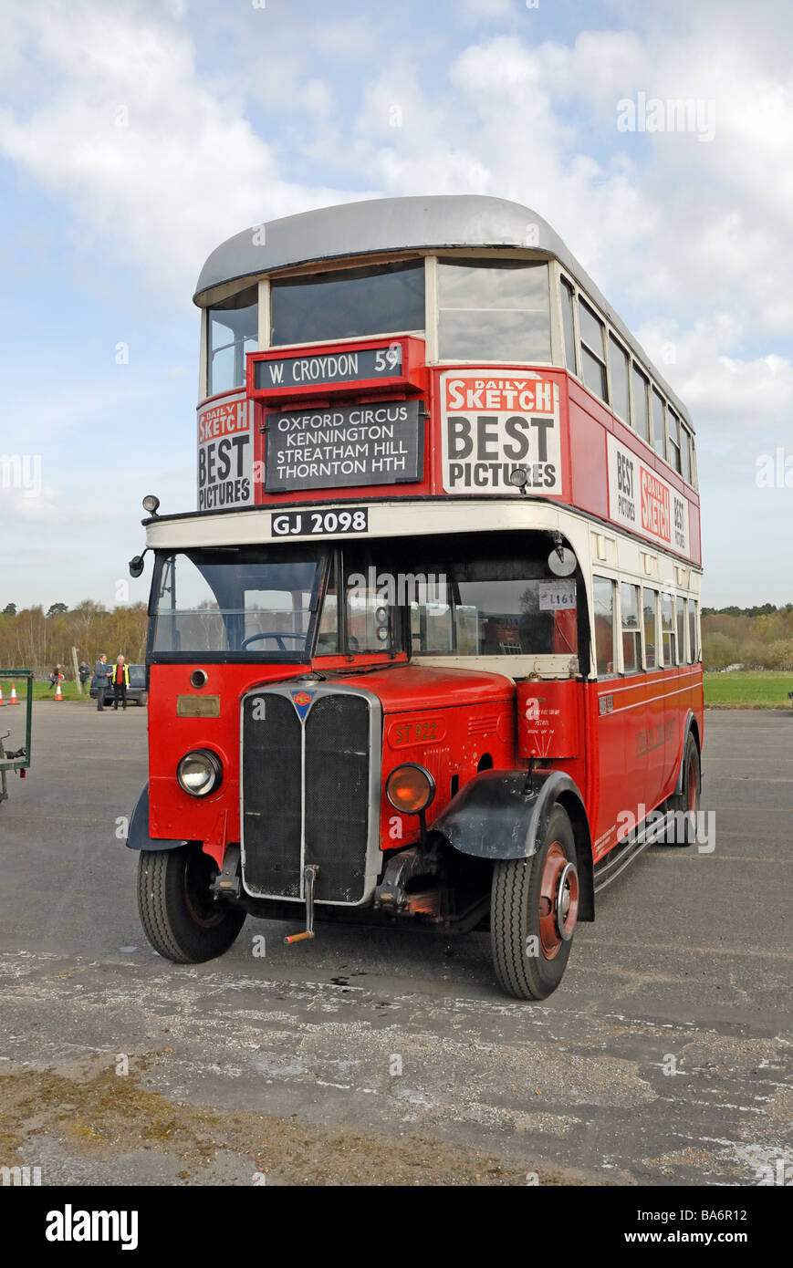 Front view of GJ 2098 a ST922 1930 2ST7 AEC Regent Tilling H27 25RO bus  with an open stair 52 seat body presented in 1930s LT co
