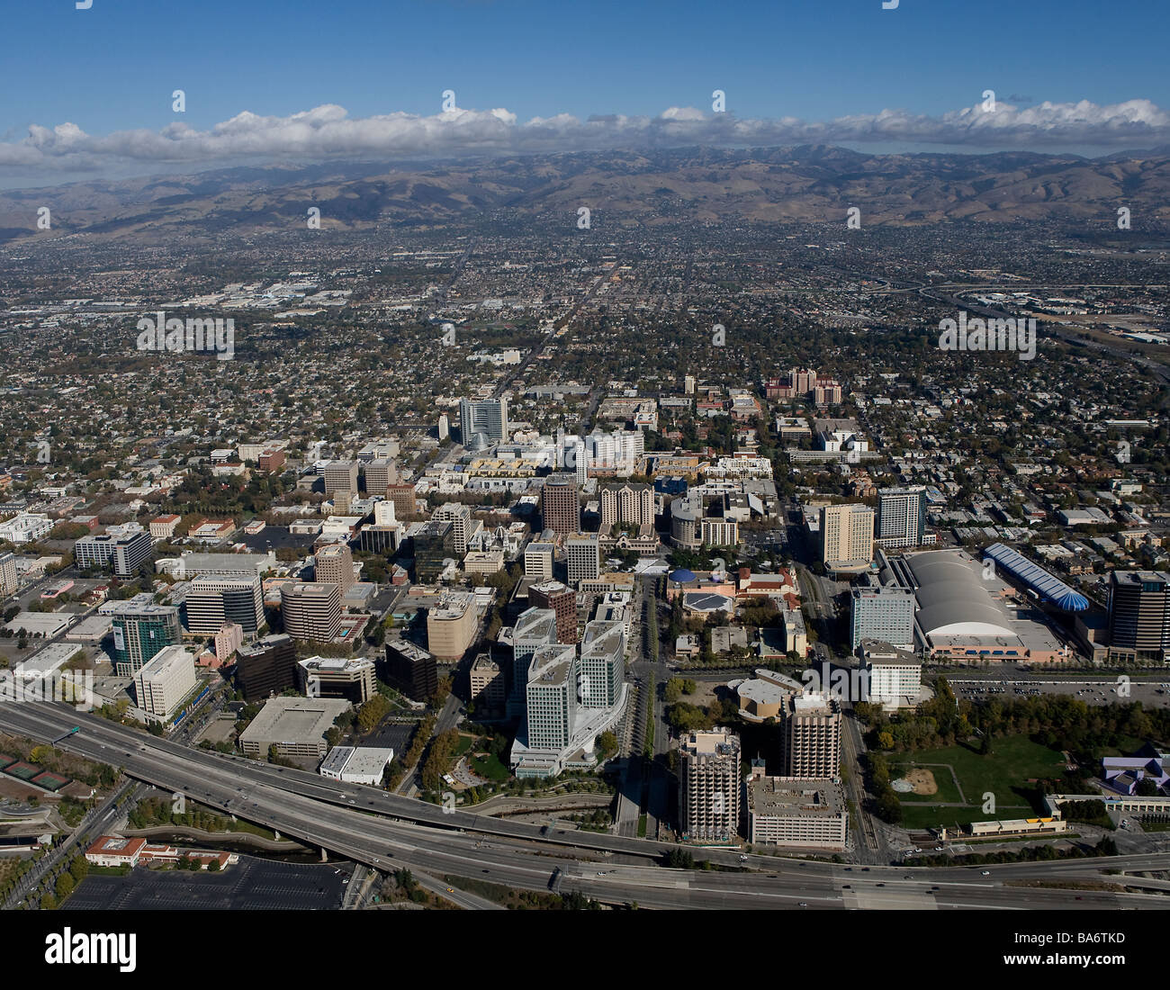 aerial view above San Jose California Silicon Valley Stock ...
