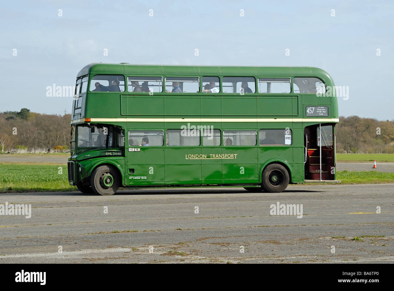 Side View of JJD 440D 1966 AEC Routemaster R2R London Transport RML 2440 at the Cobham Bus Museum Annual Spring - Stock Image