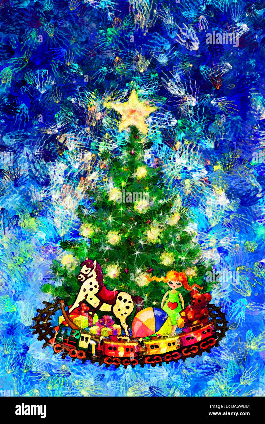 Illustration Christmas Christian-tree gifts toy computer-graphics ...