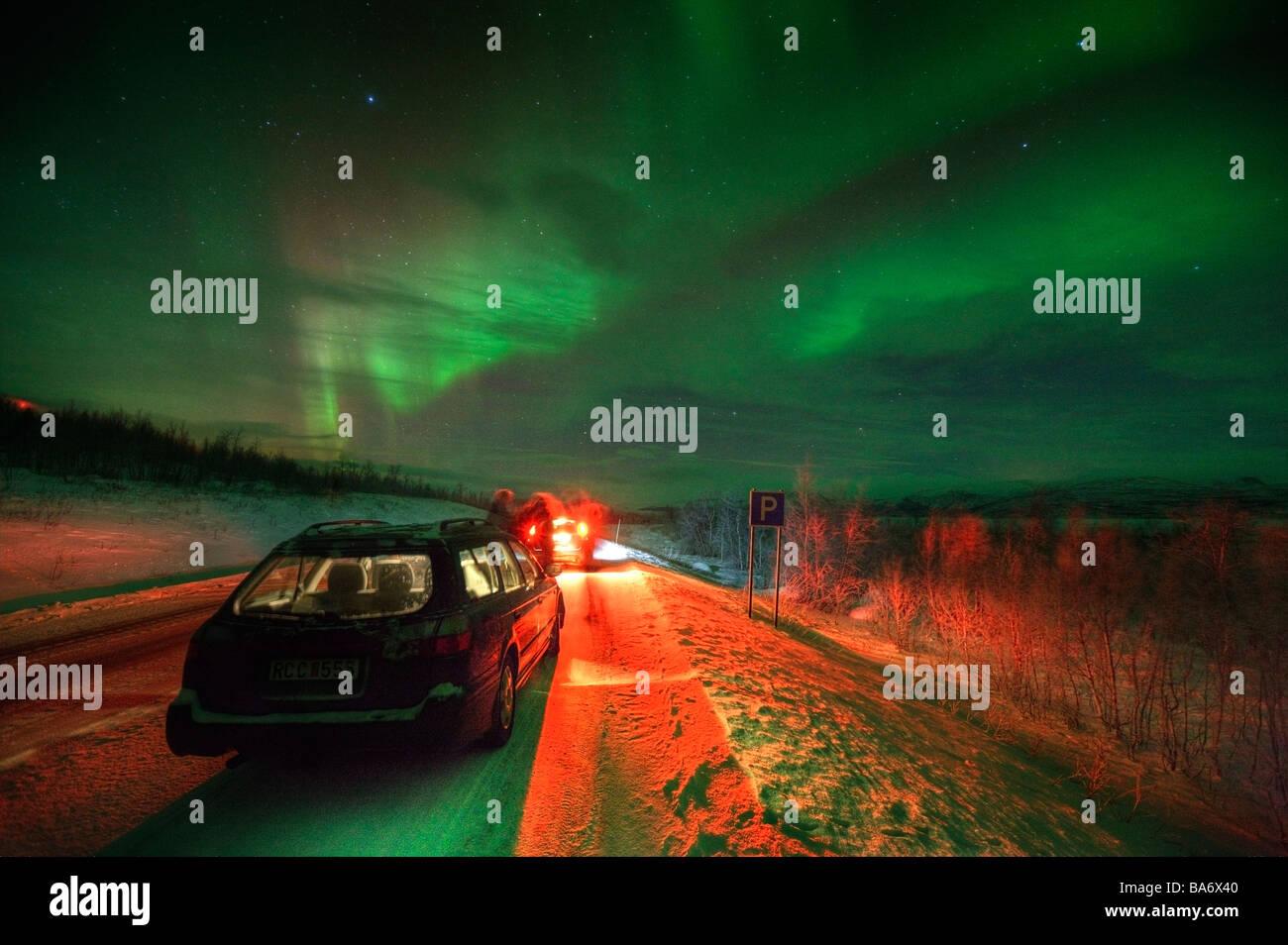 Aurora Borealis or Northern Lights, Lapland Sweden - Stock Image