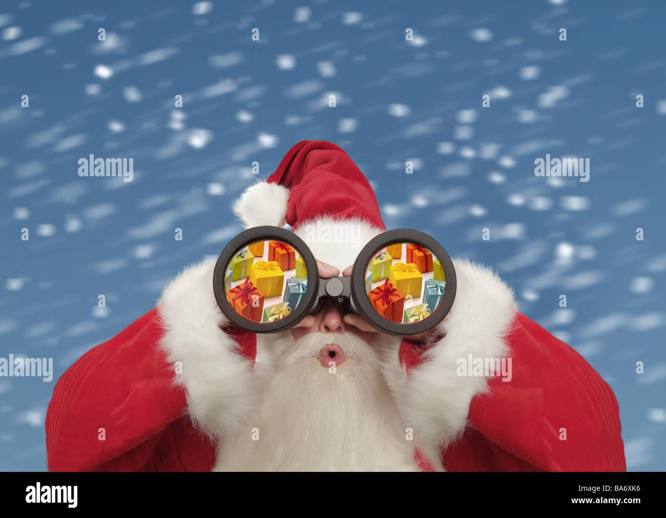 Christmas Nikolaus Binoculars Surprises Gift Snowfall Composing Gaze