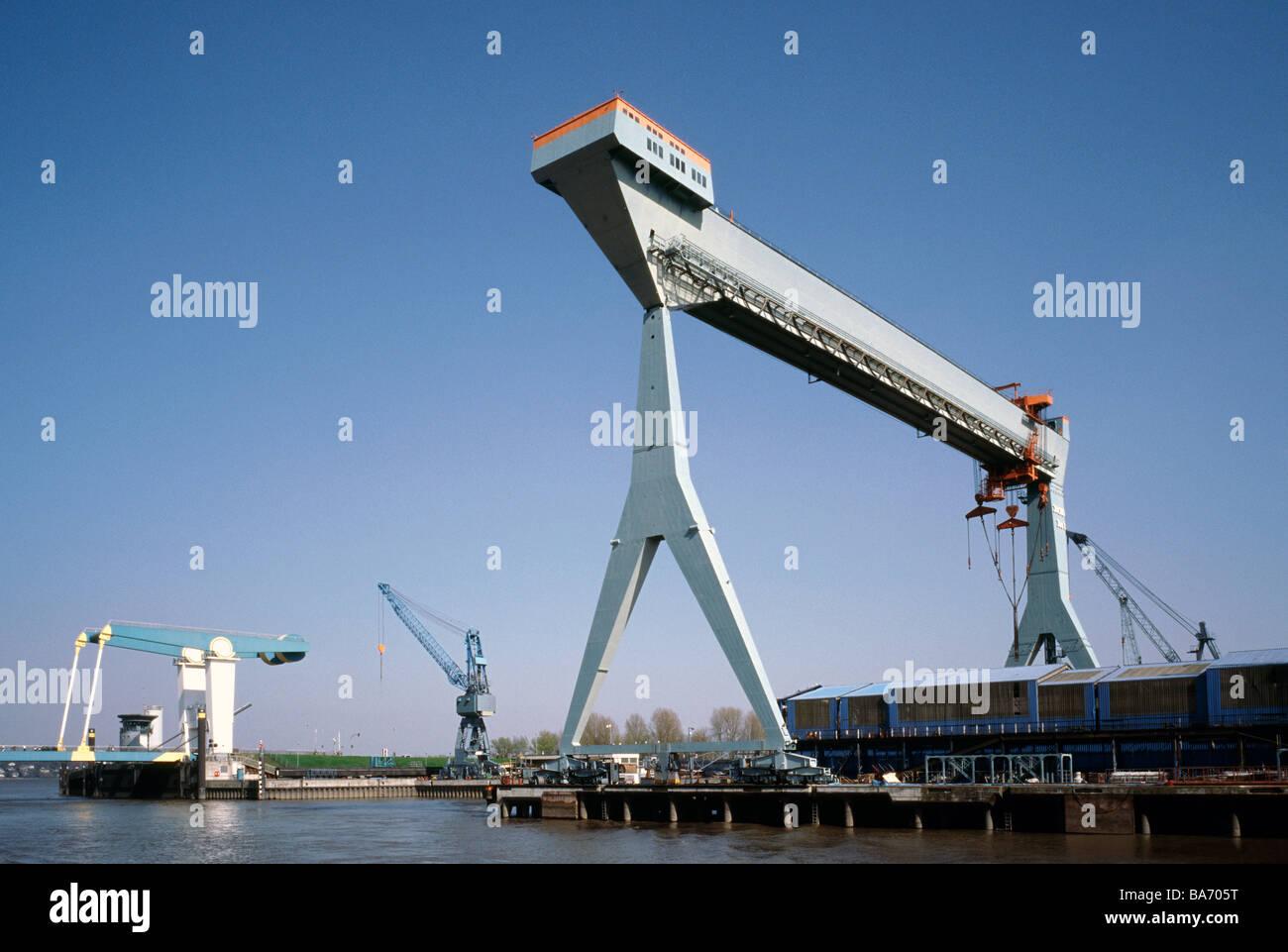 April 10, 2009 - JJ Sietas shipyard at Neuenfelde outside the German city of Hamburg. - Stock Image