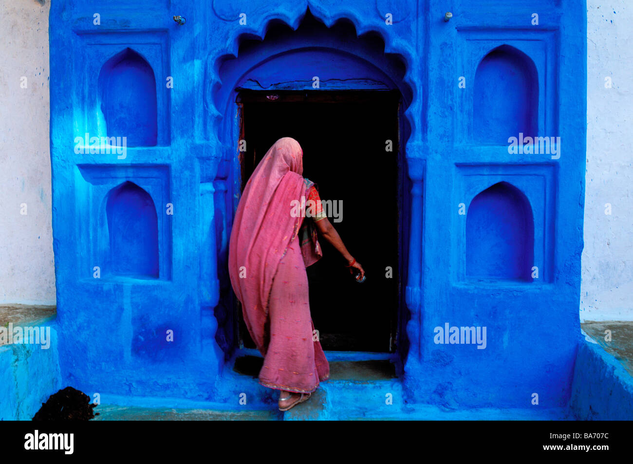 India, Rajasthan State, Jodhpur, the old blue town Stock Photo