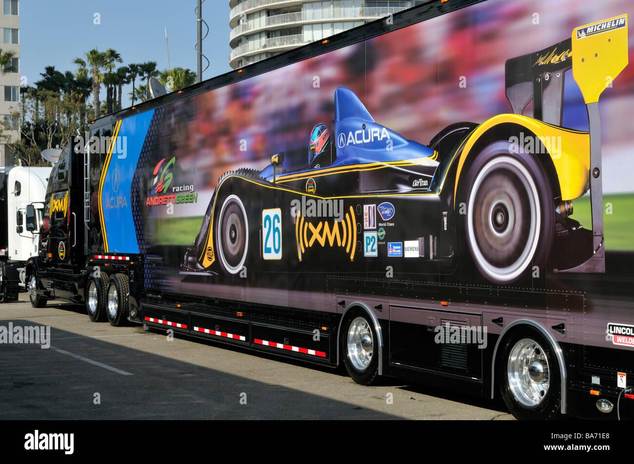 Large format race car motif decorates this big rig truck Stock Photo ...
