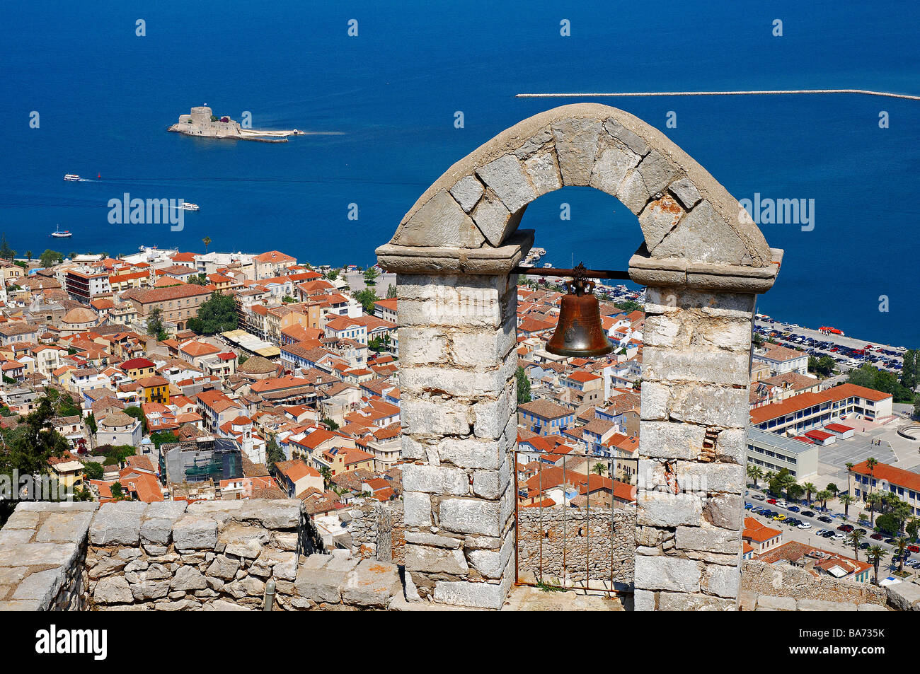 Greece, Peloponnese, Nauplie, Palamede castle, Citerne, Saint-Andre Chapel, view on Nafplion and on Bourdzi small Stock Photo