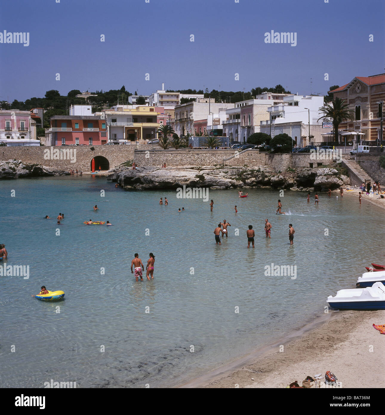 Italy Apulien models beach swimmers no release South-Italy Salento coast Santa Maria al Bagno place-opinion people - Stock Image