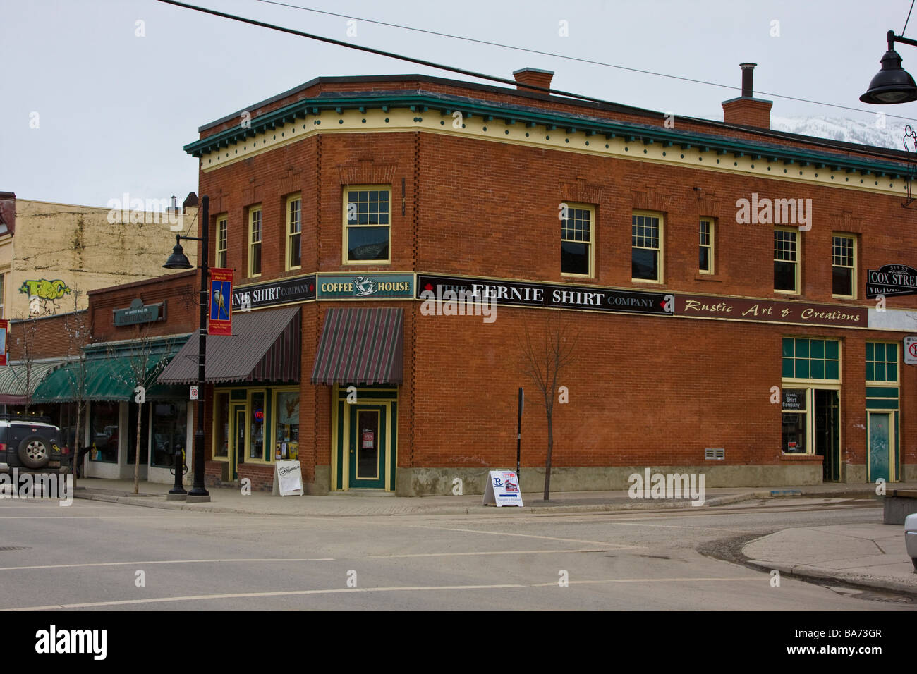 Historic Buildings in Downtown Fernie, British Columbia - Stock Image