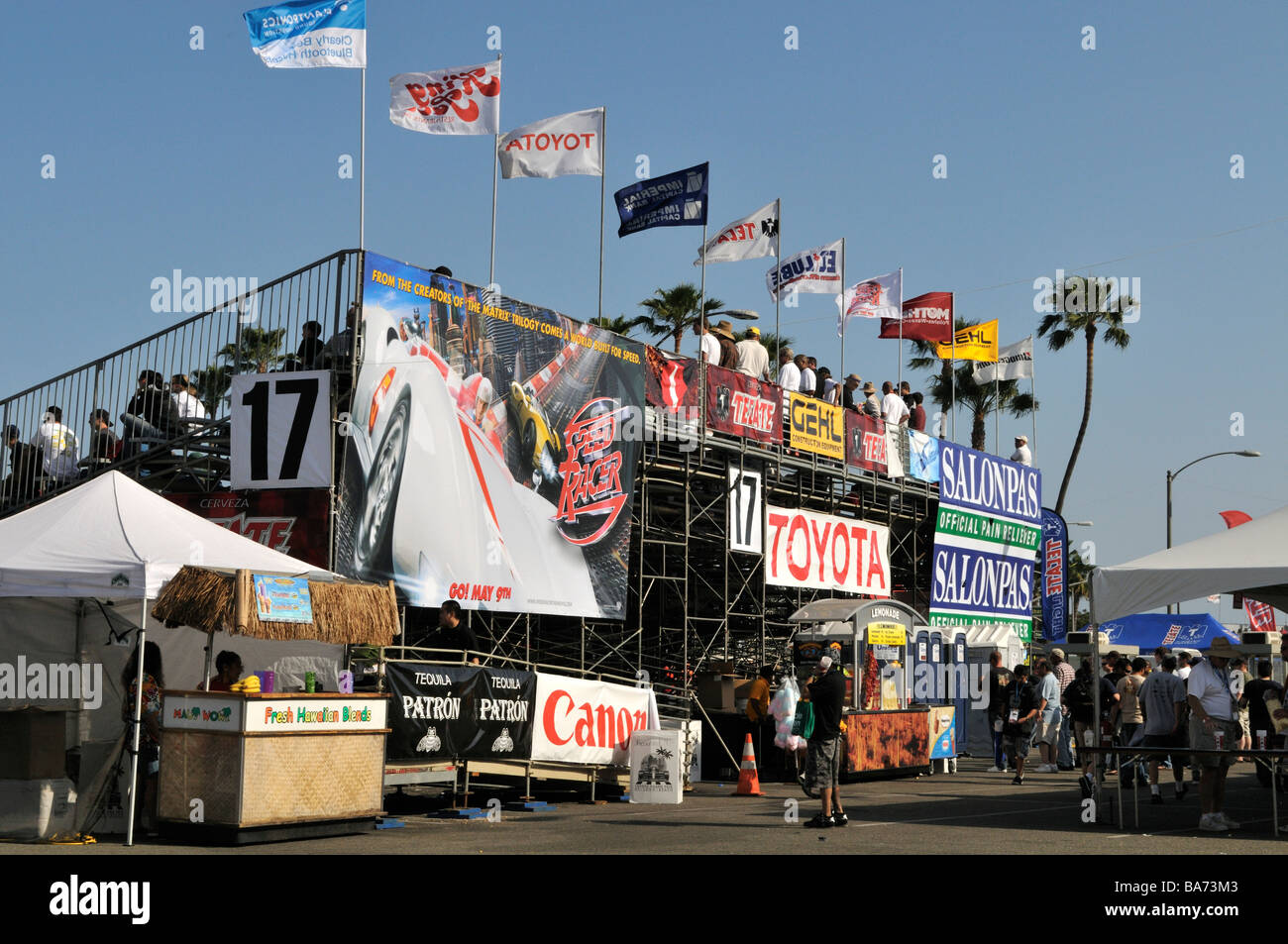 Backside of bleachers showcasing promotional banners - Stock Image