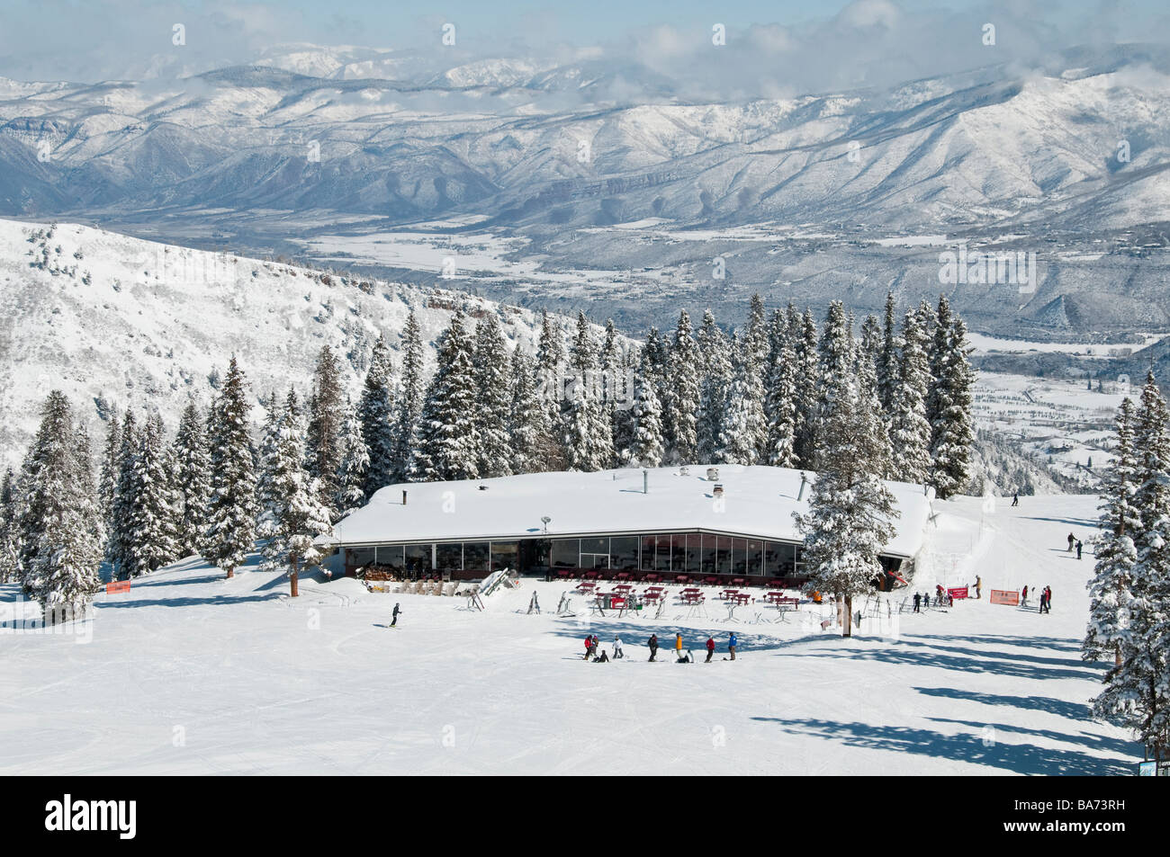 Merry-Go-Round day lodge, Aspen Highlands Ski Area, Aspen, Colorado. - Stock Image
