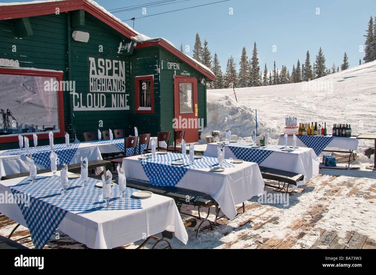 Cloud Nine Alpine Bistro, Aspen Highlands Ski Area, Aspen, Colorado. - Stock Image