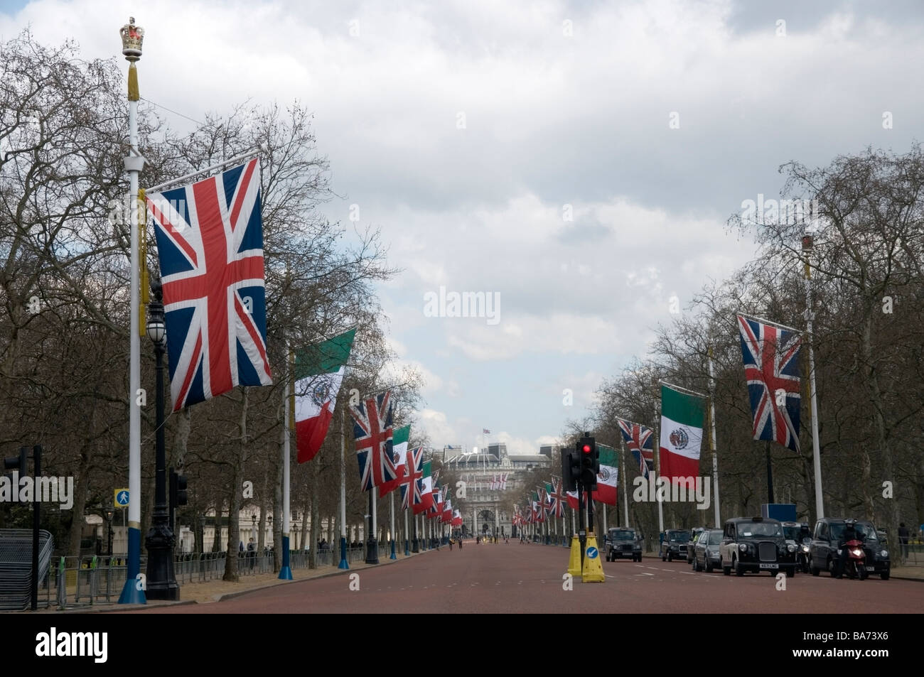 Pall Mall dressed-up with flags for the G20 summit in London City, Union Jack, April 2009, UK, Europe, EU - Stock Image
