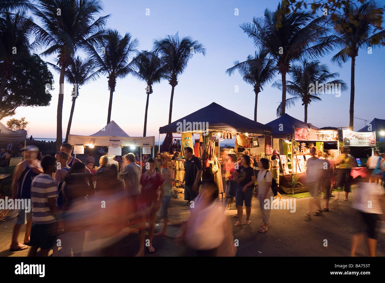 Mindil Beach Sunset Markets - a popular food and crafts market in Darwin, Northern Territory, AUSTRALIA - Stock Image