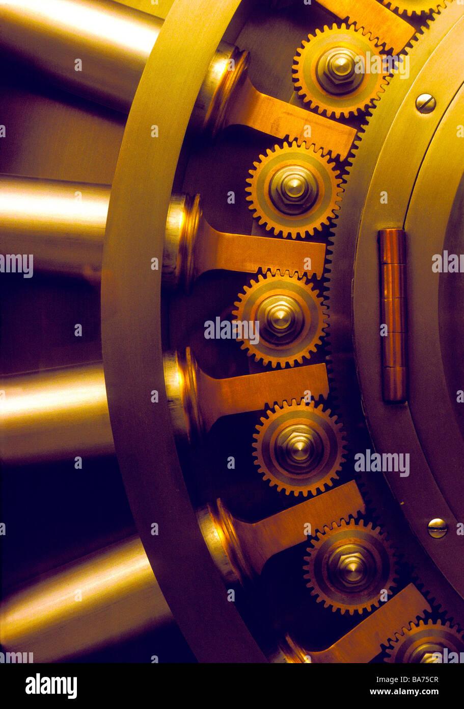 Steel and brass bank safe vault door. - Stock Image