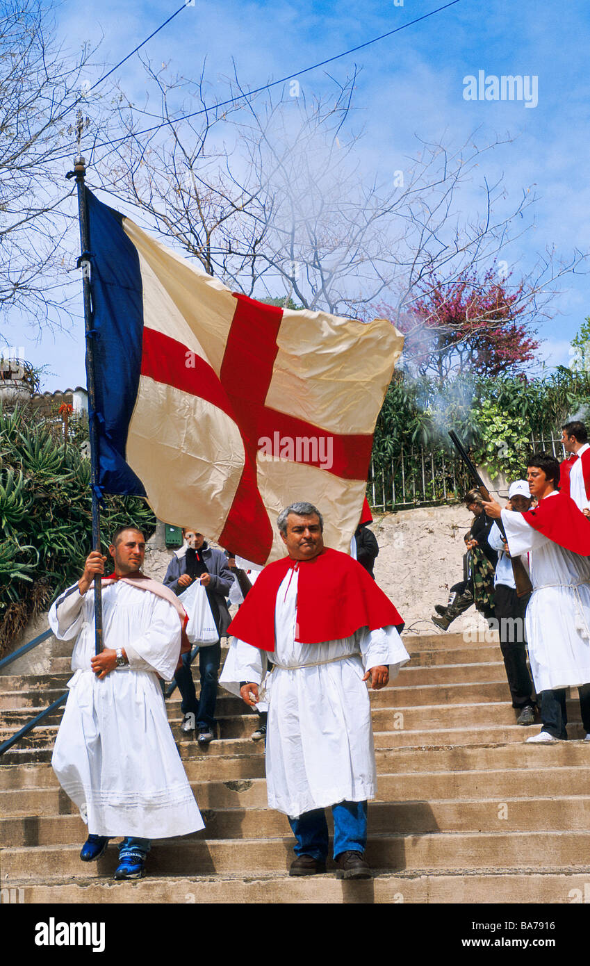 France, Corse du Sud, Cargese, Greek orthodox procession of Easter Monday Stock Photo