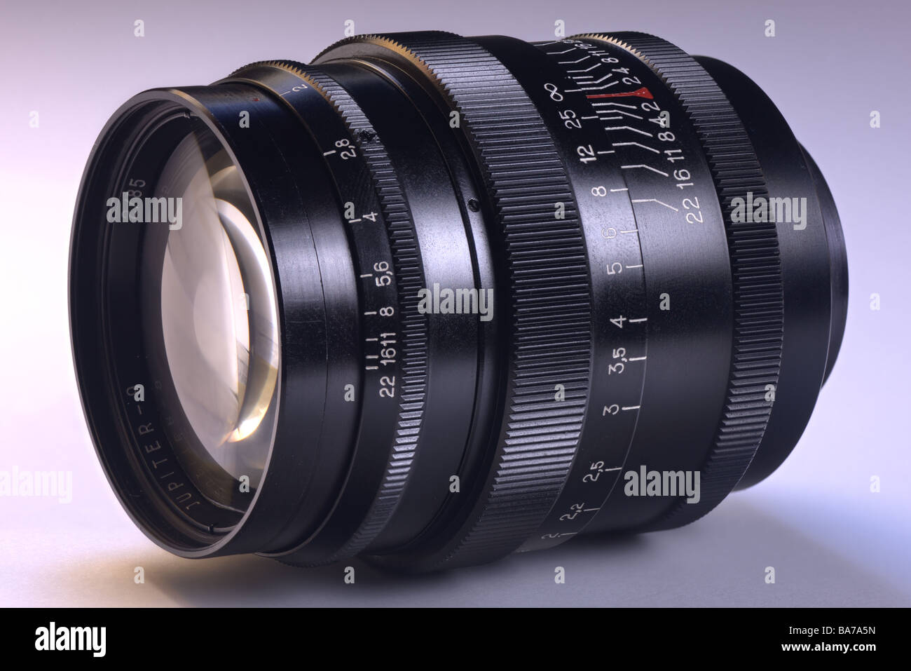 Old camera lens russian Carl Zeiss copy Jupiter-9 85/2 Stock Photo