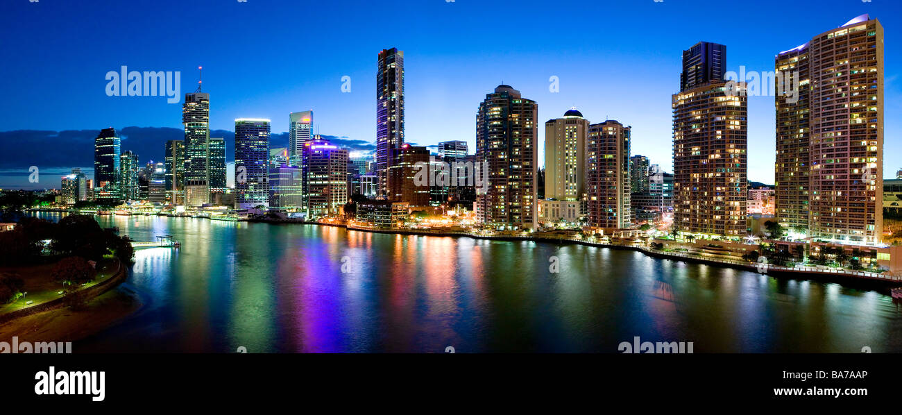 Brisbane city by night - Stock Image