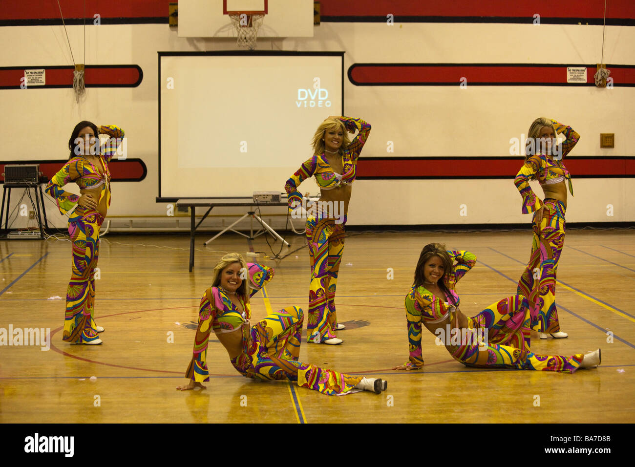 Indianapolis Colts cheerleaders performing their Armed Forces Entertainment variety show at Cairo American College, - Stock Image