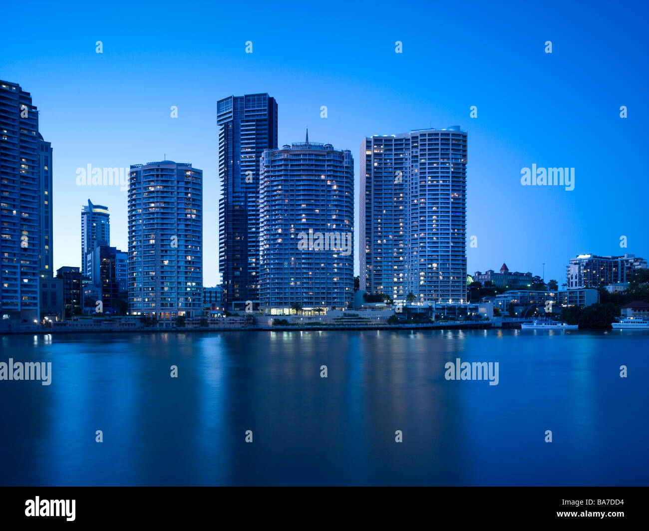 Brisbane City Apartments at night - Stock Image