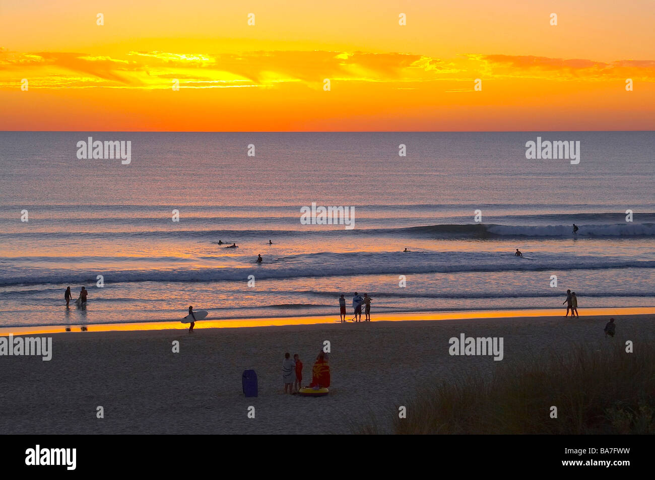 Evening at the beach of Carcans Plage, dept Gironde, France, Europe - Stock Image