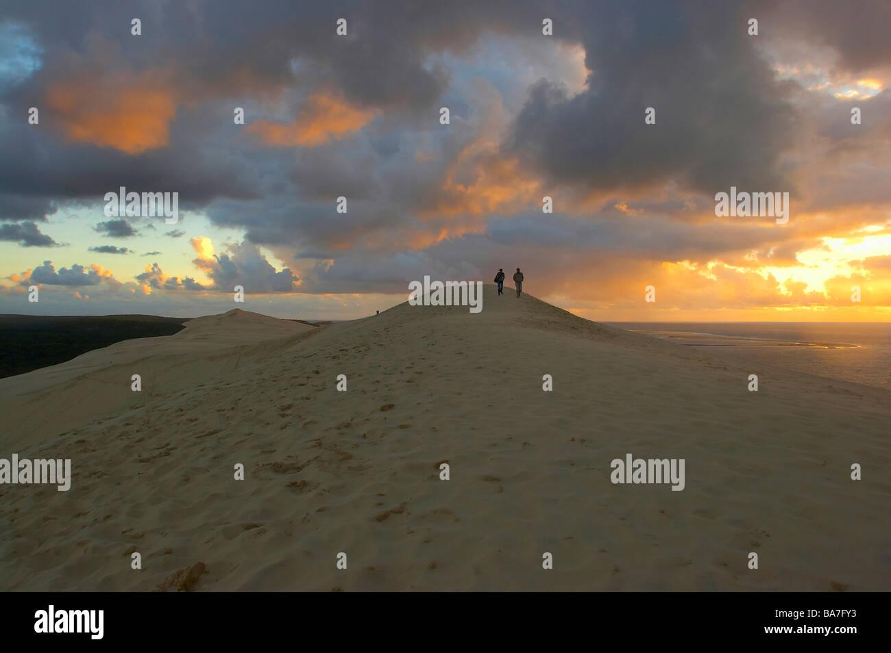 Sunset at the Dune du Pilat, dept Gironde, France - Stock Image