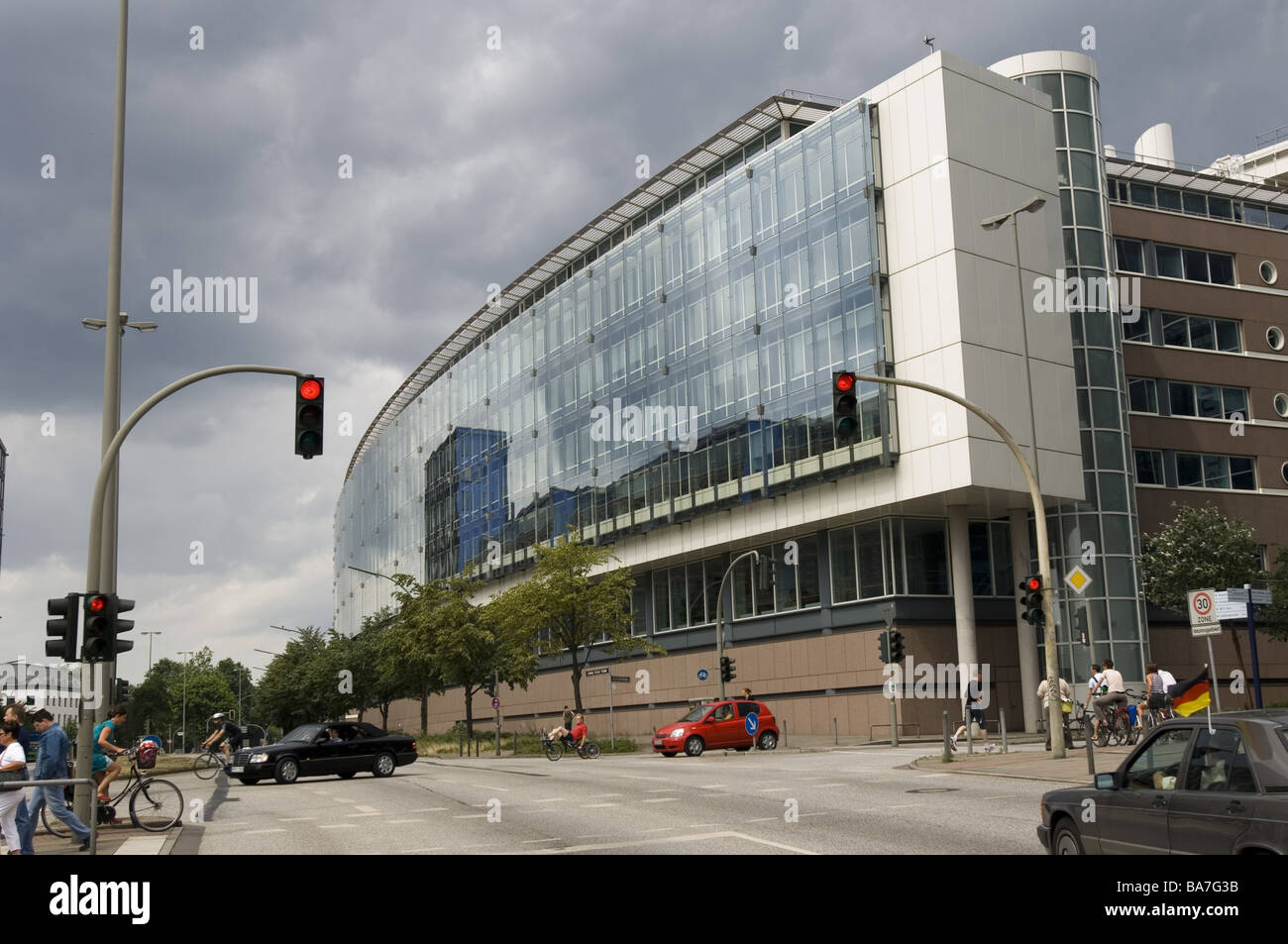 glass facade design office building. Germany Hamburg Office Buildings Glass-facade Street-scene Detail Hanseatic Town Ludwig-Erhard-Straße Street Crossing Traffic Glass Facade Design Building