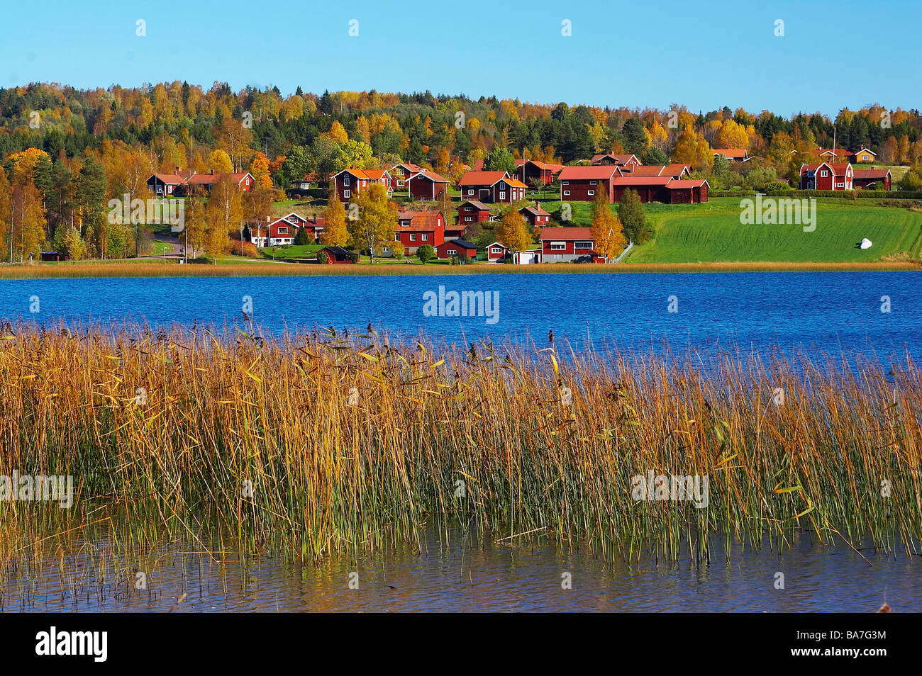 Fall in Leksand at the lake Siljan, Dalarna, middle Sweden - Stock Image