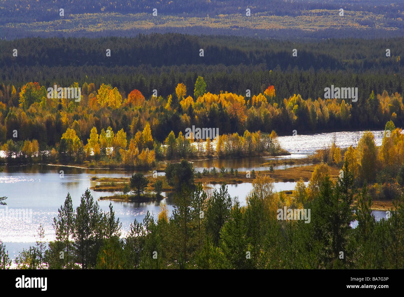 Fall between Mora and Aelvdalen at the Oesterdalaelven, Dalarna, middle Sweden - Stock Image