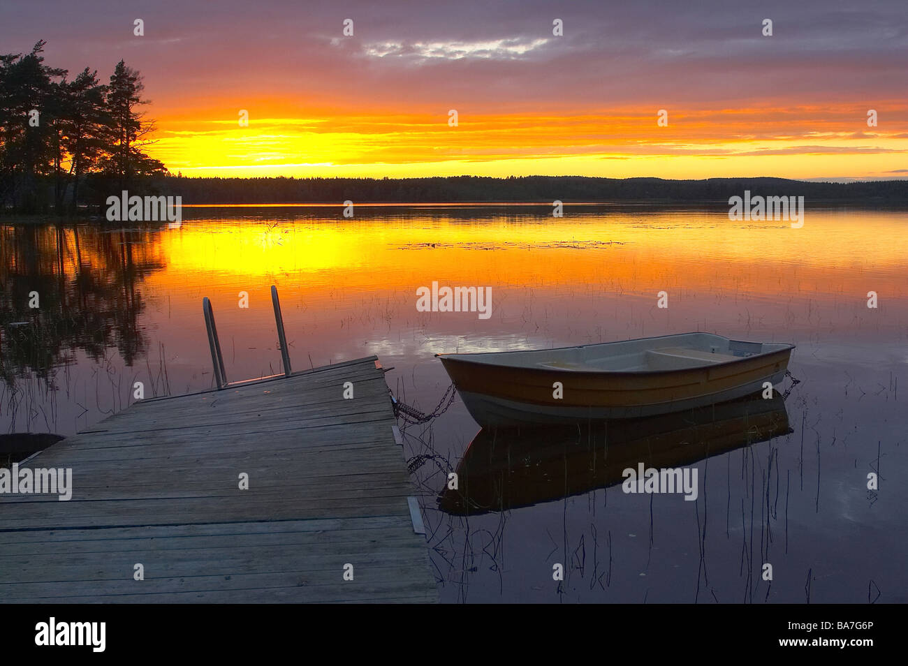 After sunset at the lake Noren near Norberg, Dalarna, middle Sweden - Stock Image