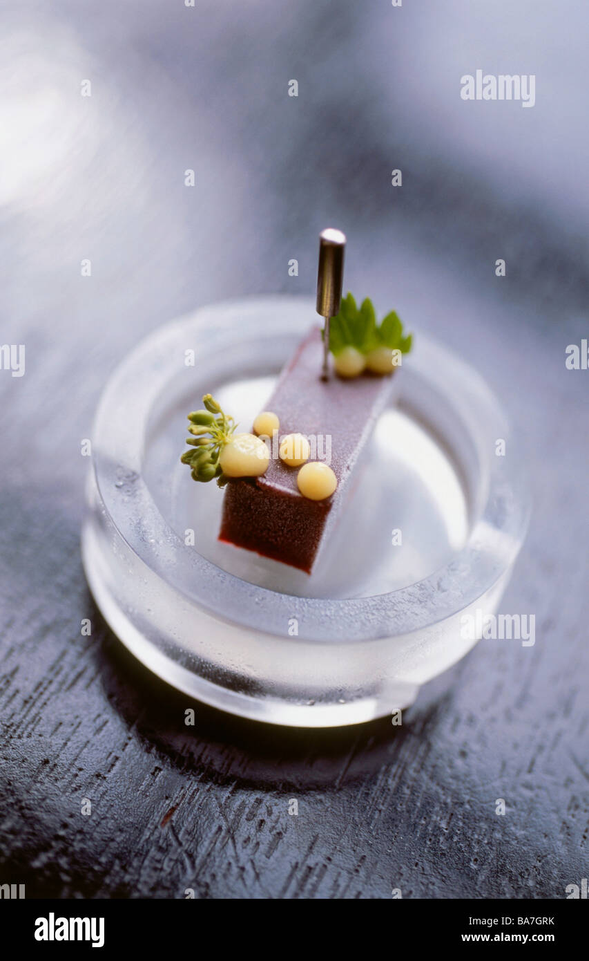 Huckleberry, cherry, frozen parsley flower, preserved meyer lemon, Restaurant Alinea, Chicago, Illinois, USA - Stock Image