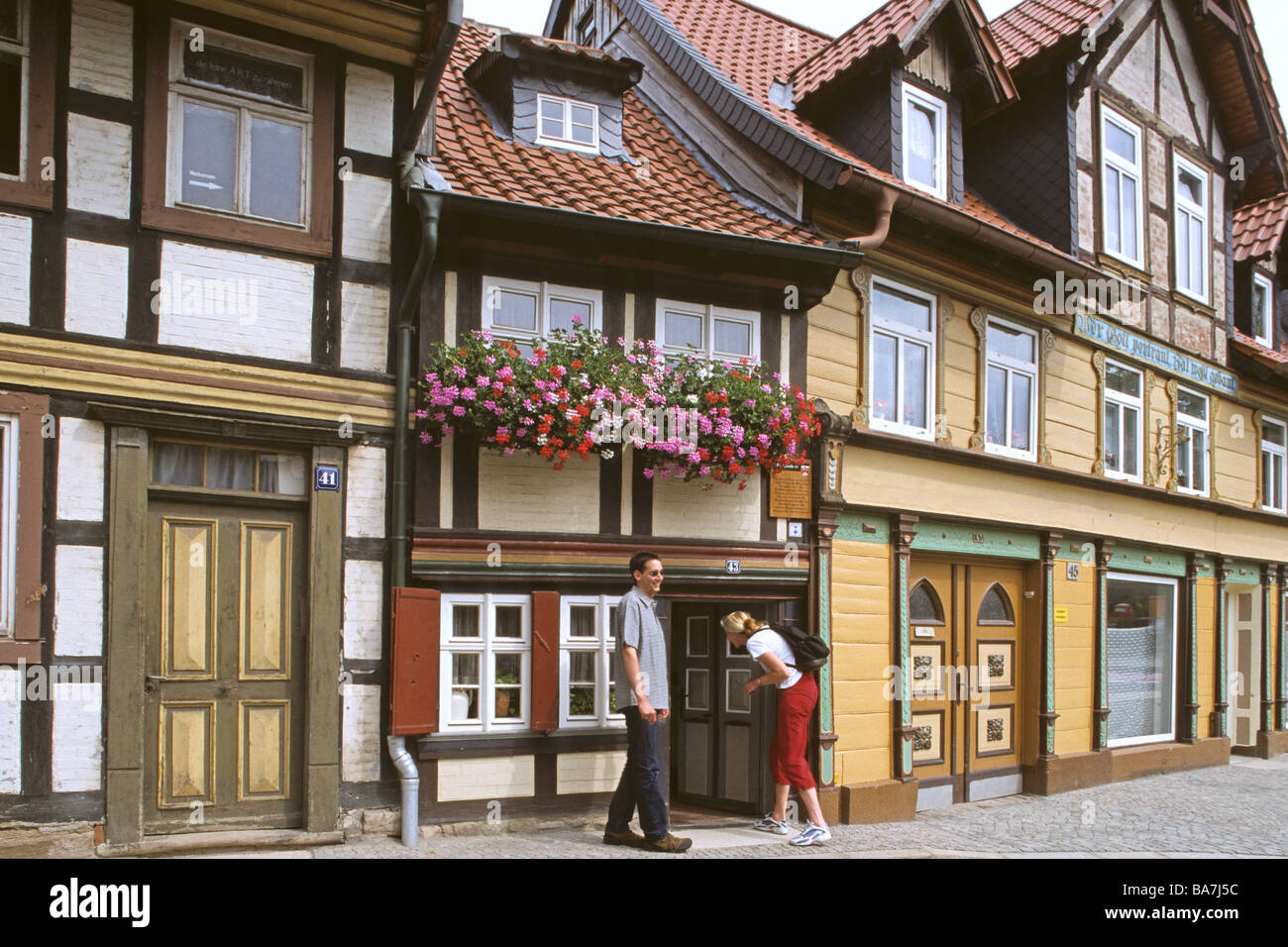 Wernigerode, old town, smallest house, Harz mountains, Saxony Anhalt, Germany - Stock Image