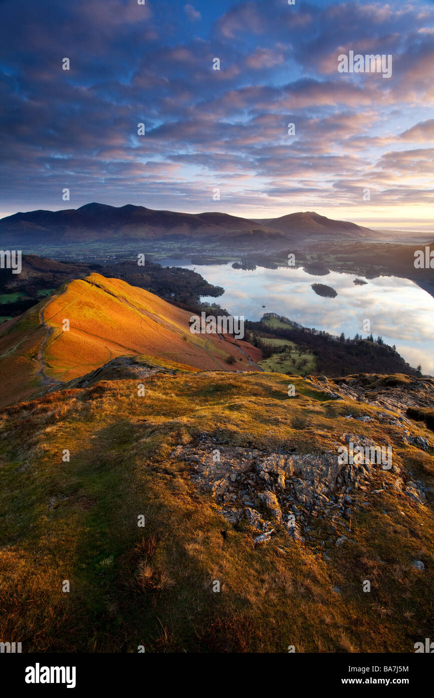 An early morning view from the summit of Catbells in the English Lake District National Park - Stock Image