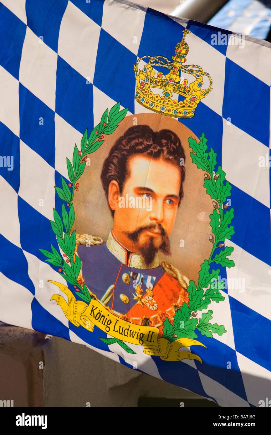 A King Ludwig II. flag, Partenkirchen, Garmisch-Partenkirchen, Upper Bavaria, Germany - Stock Image
