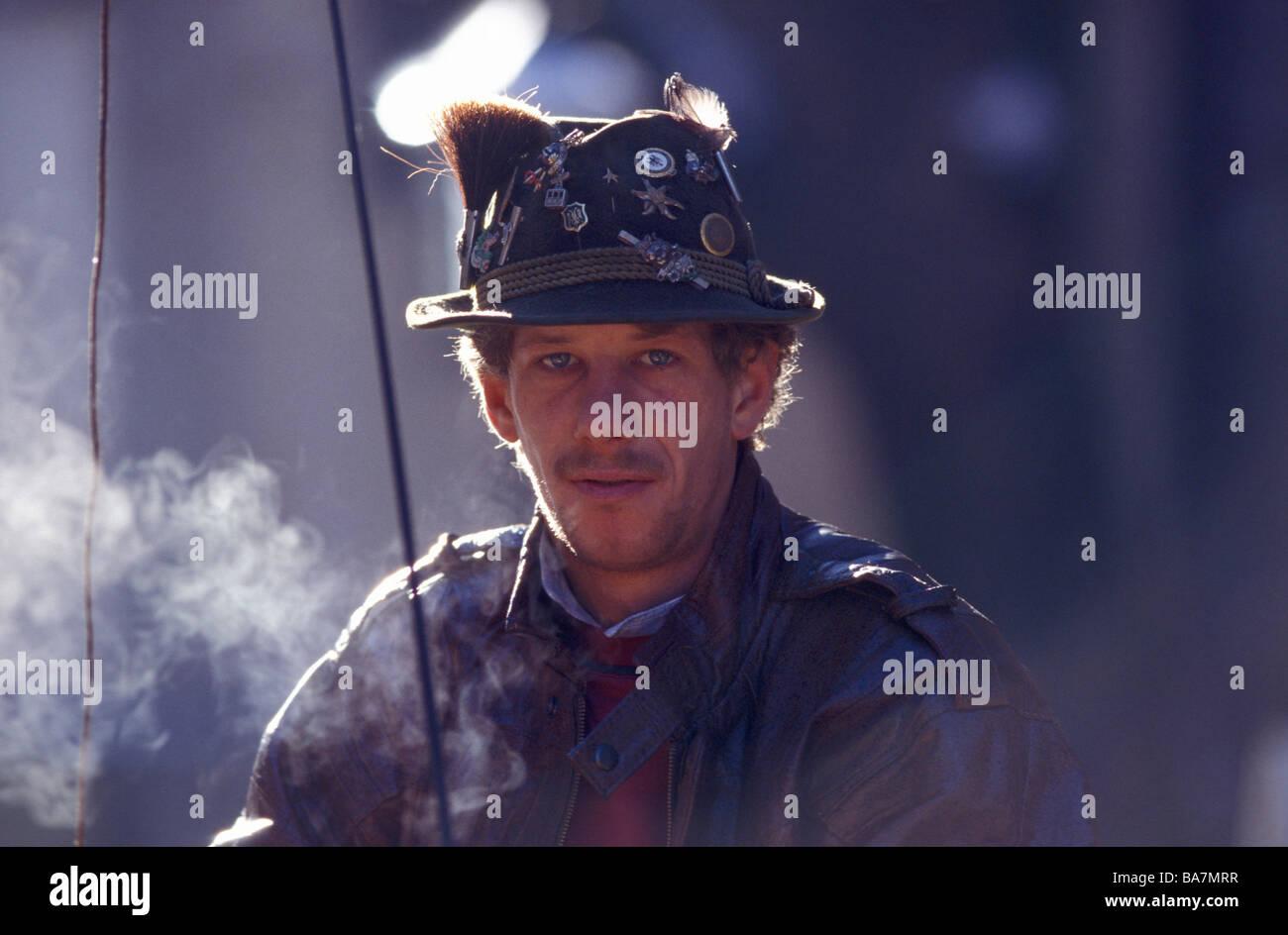 Portrait of a coachman, Kitzbuhel, Tyrol, Austria - Stock Image