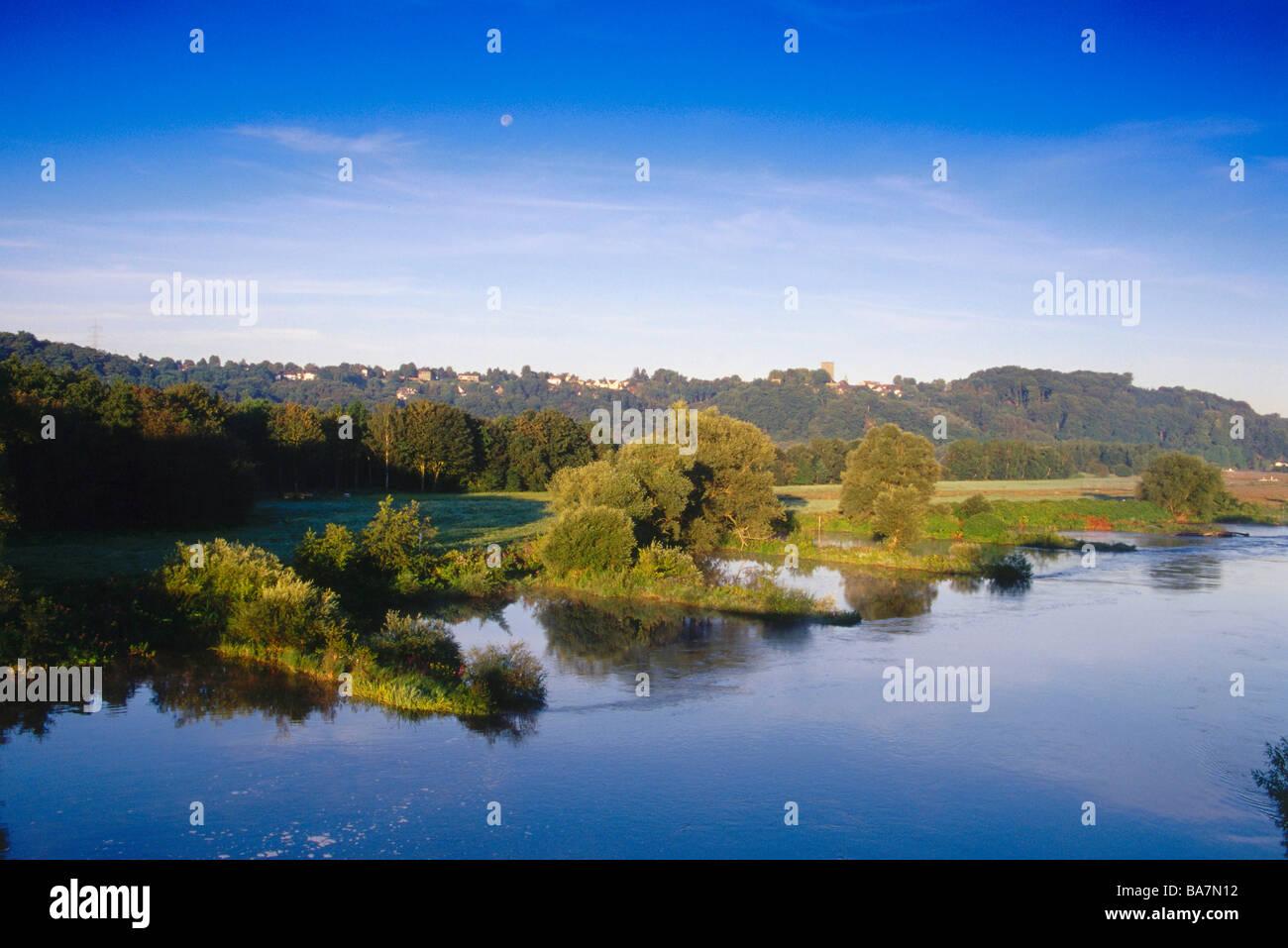 View of Hattingen, Ruhr Valley, Ruhr, Northrhine Westphalia, Germany - Stock Image