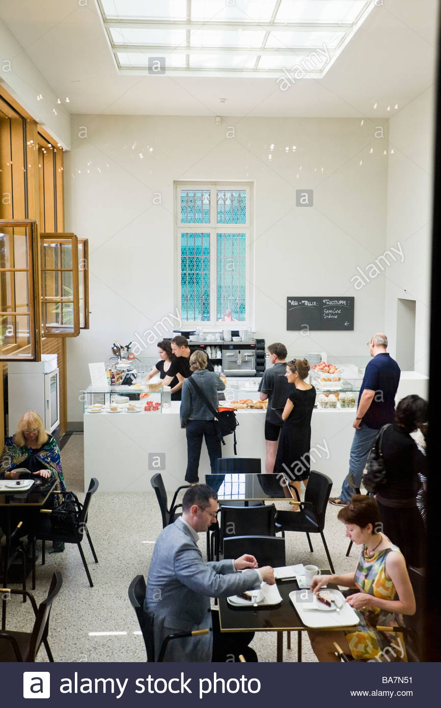 Cafe in Rietberg Museum, Art collections from Asia, Africa, America and Oceania, Gablerstrasse, Zurich, Switzerland - Stock Image