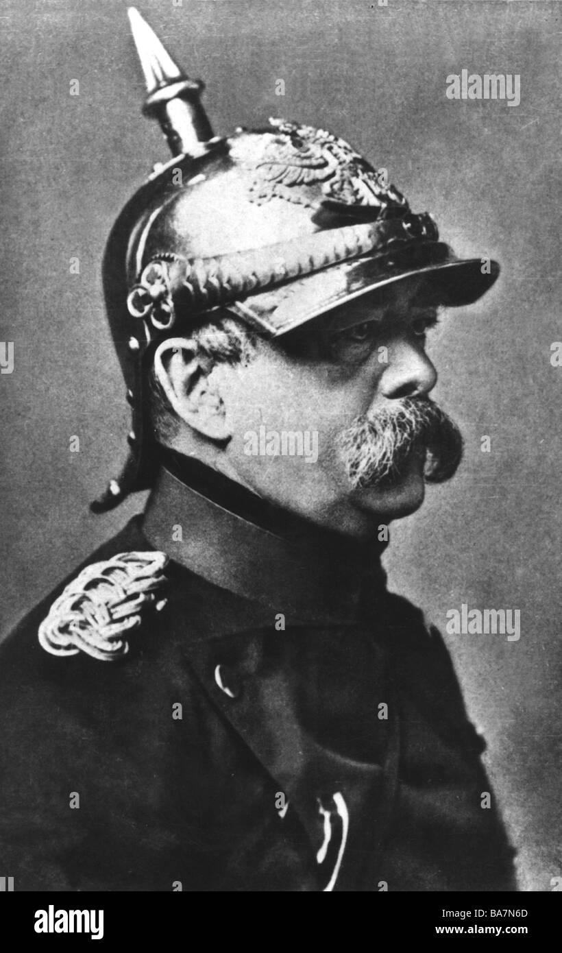 Bismarck, Otto von, 1.4.1815 - 30.7.1898, German politician, Chancellor 1871 - 1890, portrait, uniform of 7th Cuirassier - Stock Image