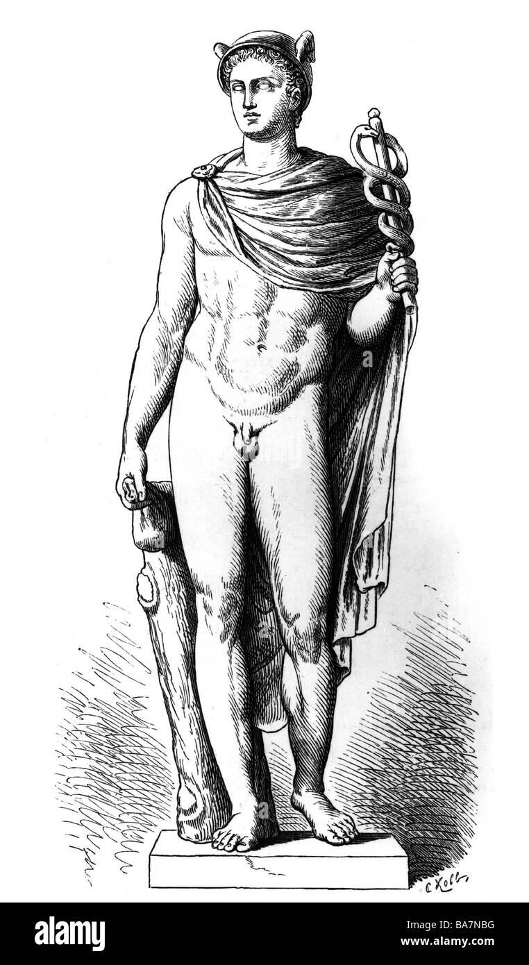 Hermes Lat Mercurius Greek Deity Messenger Statue Villa