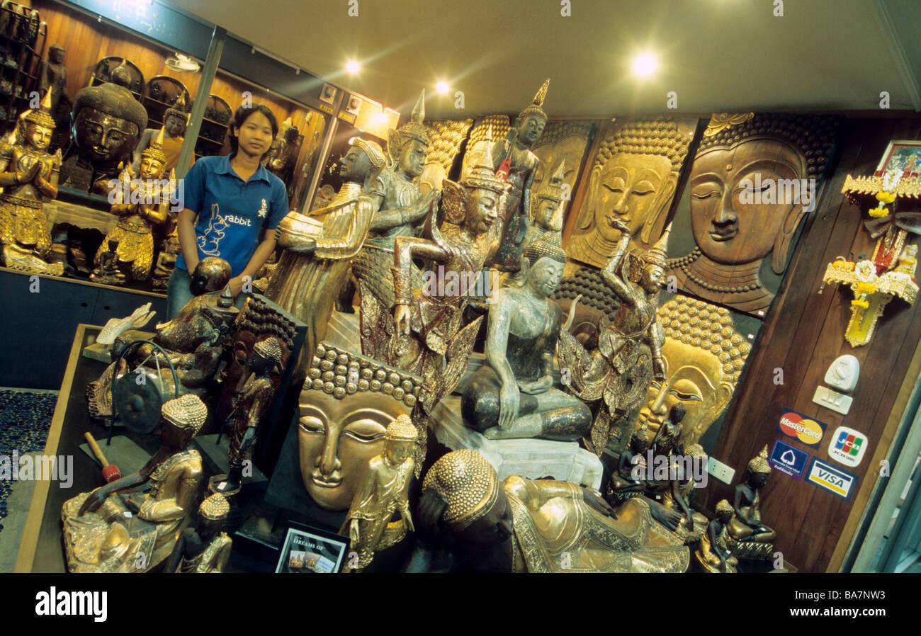 Souvenirs And Handicrafts In A Shop Bangkok Thailand Stock Photo