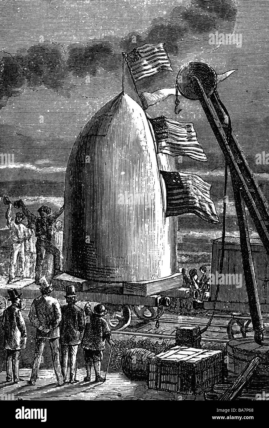 Verne, Jules, 8.2.1828 - 24.3.1905, French author / writer, illustration from 'From the Earth to the Moon' - Stock Image