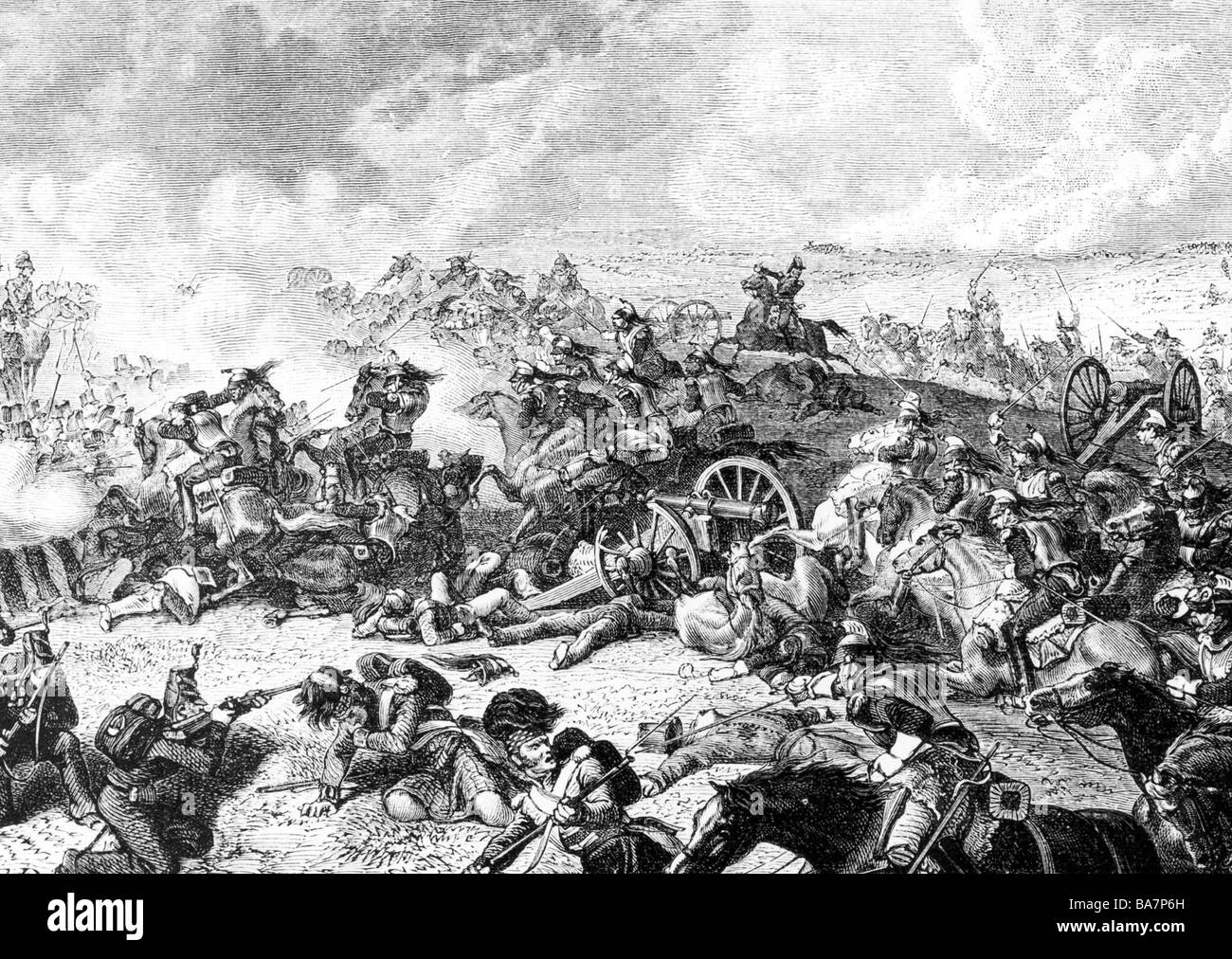 events, War of the Seventh Coalition 1815, Battle of Waterloo, 18.6.1815, charge of the French cavalry against the - Stock Image