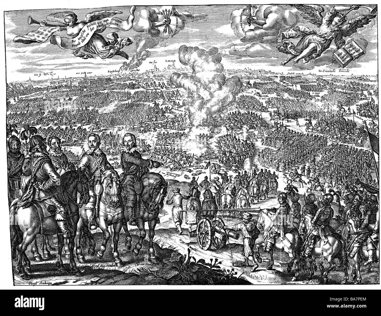 events, Thirty Years War 1618 - 1648, Swedish War, 1st Battle of Breitenfeld, 17.9.1631, copper engraving, 1631, - Stock Image